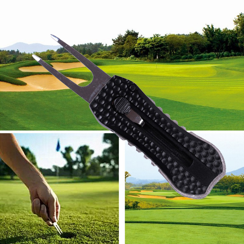 New  Marker Pitch Cleaner Spring Pitchfork Putting Green Fork Training Supplies Golf Divot Repair Tool