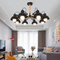 Nordic Творческий Простой 3/6 голов твердой древесины Подвесные светильники для гостиной Обеденная Белый Черный E27 База Промышленное освещение