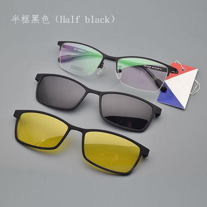 Half Frame Titanium Frame Glass Frame With Polarized Light Frosted Myopia Glasses Men Sunglasses Night-vision Clip Pure Titaniu