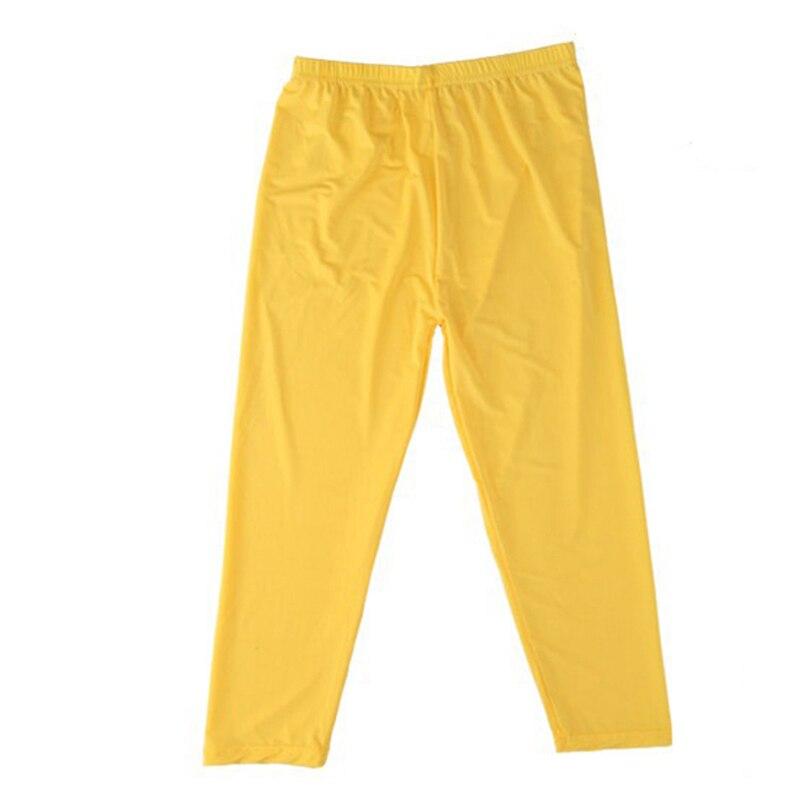 Summer Women Calf Length Leggings One Size Ice Silk Leggings Stretch Thin Fashion Candy Color Casual High Waist Fitness Legging