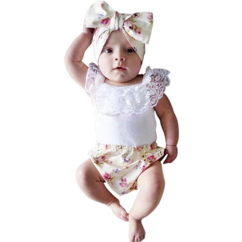 031b8b114b1c Neonate 3 pz Infantile del Merletto Che Coprono L'insieme T-Shirt + ...