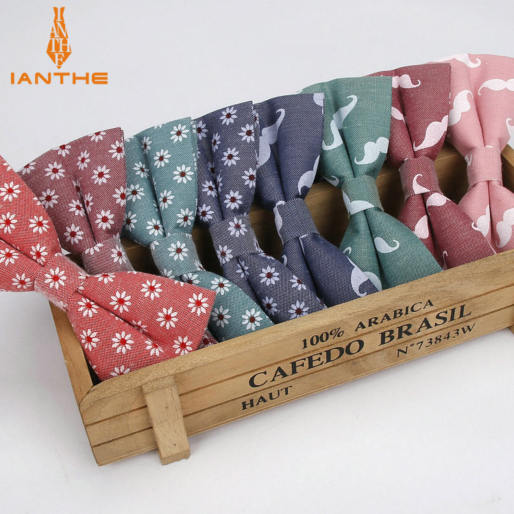 Ianthe Men Brand New Vintage Mustache Print Wedding Bow Ties For Man Vestido Gravatas Groom Necktie Butterfly Fashion Bowtie
