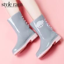 Die neuen Australischen Meng dinge slip gelee gummi rain Koreanische version des normallack mitte wade regen stiefel frauen