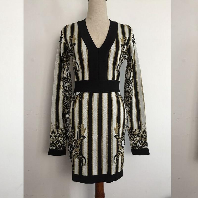 Sexy Broderie À Party Mode Longues Tricoter Élégante V Robes Celebrity Automne Nouvelle Robe Manches En Multi Cou 2018 Gros FIq0w8n8