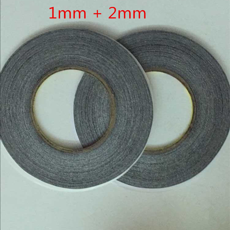 1mm+2mm *50meter 3M Black Double Sided Adhesive Tape for Mobile Phone Touch Screen/LCD/Display Glass free shipping szbft 1mm black brand new 3m sticker double side adhesive tape fix for cellphone touch screen lcd free shipping