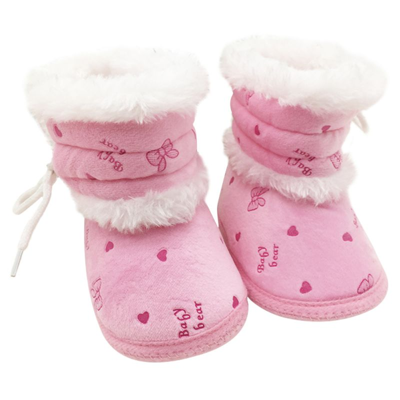 New Baby Plush Winter Warm Boots Toddler Non Slip Soft Sole Crib Shoes 0-18M L07