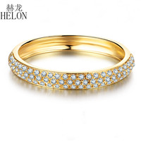 HELON 0.2CT 100% Genuine Natural Diamonds Women Trendy Jewelry Solid 14k Yellow Gold Elegant Cluster Engagement & Wedding Ring