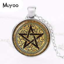 Golden Pentagram สร้อยคอ Cabochon จี้ Pentacle Ace of Pentacles Tarot Card (China)