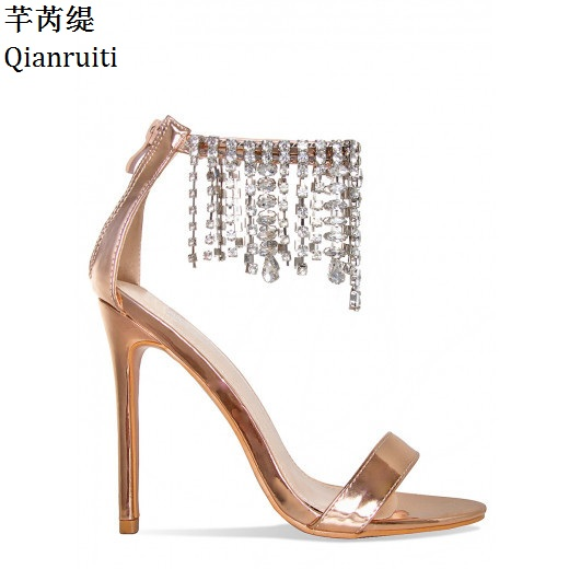 Qianruiti Clear Studded Crystal Ankle Strap Women Pumps Rome Style High  Heels Sandals Gold Beige Stiletto Heels Women Shoes-in Women s Pumps from  Shoes on ... 2c8c12d25960