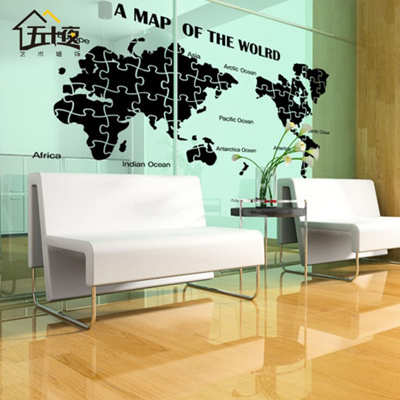 World map wall decal large new design art pattern puzzle decal world map wall decal large new design art pattern puzzle decal creative world map wall sticker poster sticker in wall stickers from home garden on gumiabroncs Images