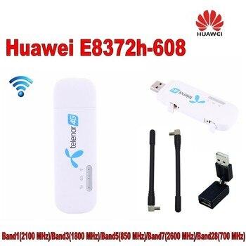 100pcs Unlocked Huawei E8372h-608 4g 3g usb wifi modem 3g 4g usb stick plus 2pcs antenna and 360 degree USB converter 1