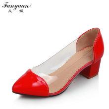 2915 Brand New Fashion Pointed Toe Mid-HeelsPumps For Women Sweet Party Pumps Big size 33-47