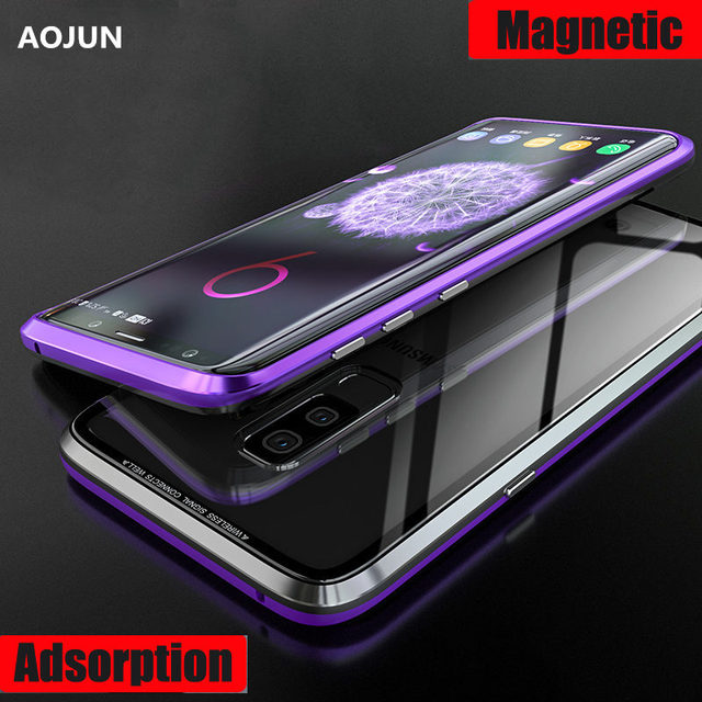 newest 1dd32 12fec US $12.19 17% OFF|Aojun Magnetic Adsorption Metal Case For Samsung Galaxy  S9 Plus Back Transparent Glass Cover For Samsung S9 S9 Plus-in Fitted Cases  ...