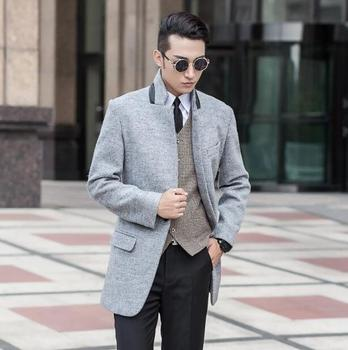 Drey long sleeve Medium-long wool coat men jackets and coats mens slim wool winter single breasted trench coats stand collar 9XL