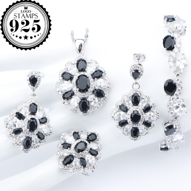 Black Zircon Silver 925 Costume Wedding Jewelry Sets Bracelets