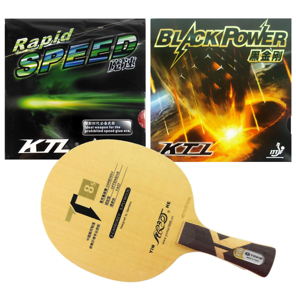 Galaxy YINHE T8s blade + KTL Rapid Speed and BLACKPOWER rubber with sponge for a table tennis racket Long Shakehand FL sword subdue table tennis blade with double fish 1615 and 820a rubber with sponge for a ping pong racket long shakehand fl