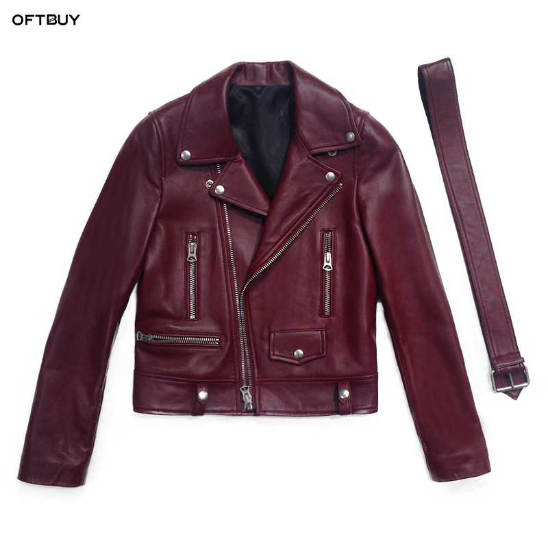 OFTBUY 2019 primavera otoño chaqueta de cuero genuino de las mujeres de piel de oveja real de cuero abrigo corto negro clásico de la motocicleta chaqueta de Bombardero
