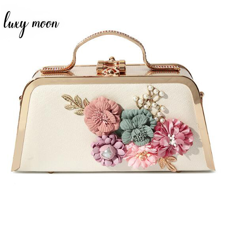 Women Wedding Bag Luxury Handbag Fashion Flower Clutch Evening Bags Ladies Hard Box Shape Clutch Purse Female Messenger Bag