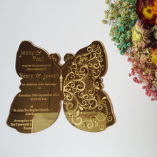 Customized 180*150mm butterfly shape golden mirror acrylic wedding invitation card(1lot=100pcs)