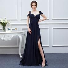 Bridesmaid Dresses 2017 Custom Made Navy Blue Color Chiffon Maid of Honor Dress Sexy High Slit Cheap Long Wedding Party Gowns