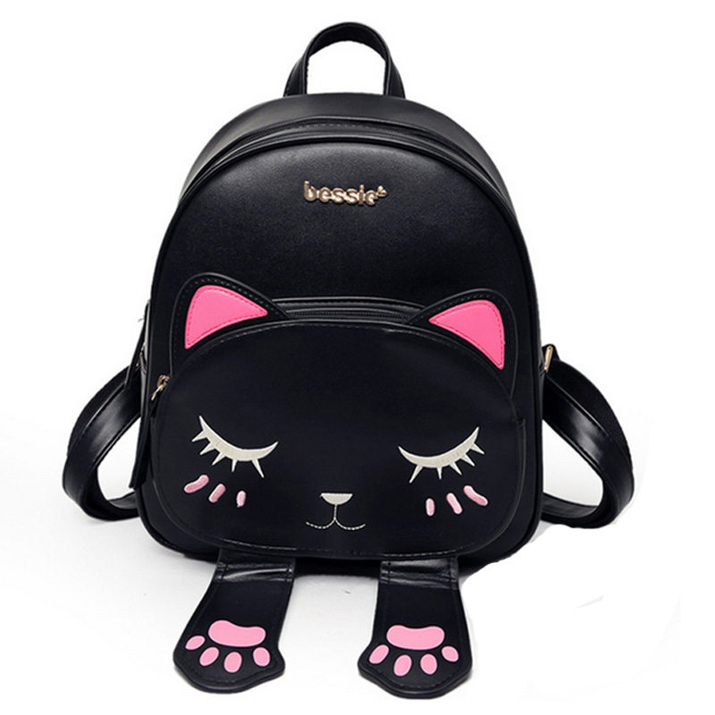 Fashion Cat Backpack Women Cartoon School Bags For Teenagers Girls PU Leather Women Backpack Brands Mochila Female Sac A Dos dida bear brand women pu leather backpacks female school bags for girls teenagers small backpack rucksack mochilas sac a dos