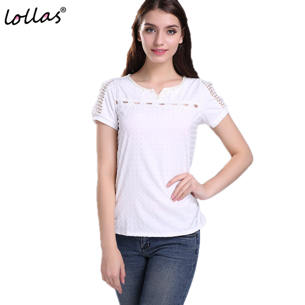 lollas New Leisure Women Lace Short Sleeve White Shirt V