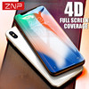ZNP 4D 0.3mm Screen Protector Tempered Glass For iPhone X 10 Full Cover Toughened Protective Film For iPhone 10 X Tempered Glass