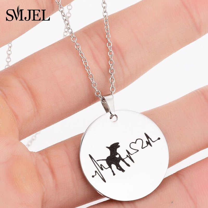 Smjel Jantung Anjing Kalung untuk Wanita Stainless Steel Bull Terrier Puppy Perhiasan Heartbeart Bulat Pesona Hadiah untuk Pria