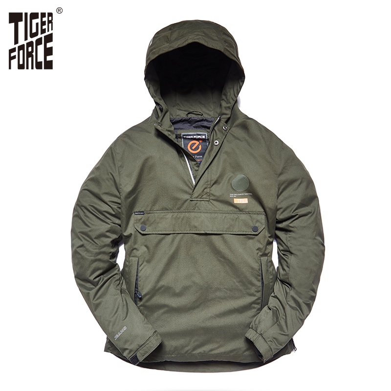 TIGER FORCE New Arrival 2018 Men Jacket Spring Casual Jackets Hoodie Hooded Jacket Side Zipper Front Pocket Coat European Size