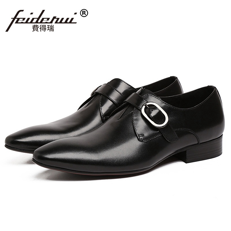 New Pointed Toe Derby Man Formal Dress Party Shoes Buckle Strap Genuine Leather Male Oxfords Men's Wedding Bridal Flats JD92 2016 new fashion genuine leather formal brand man print oxfords men s derby pointed toe monk strap dress rubber shoes glm589
