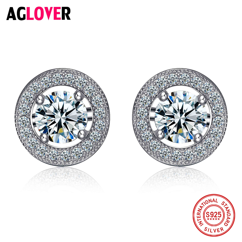 Cute 925 Sterling Silver Round Crystal Circle Small Loop Stud Earrings For Women Jewelry Kids Baby Children Girls