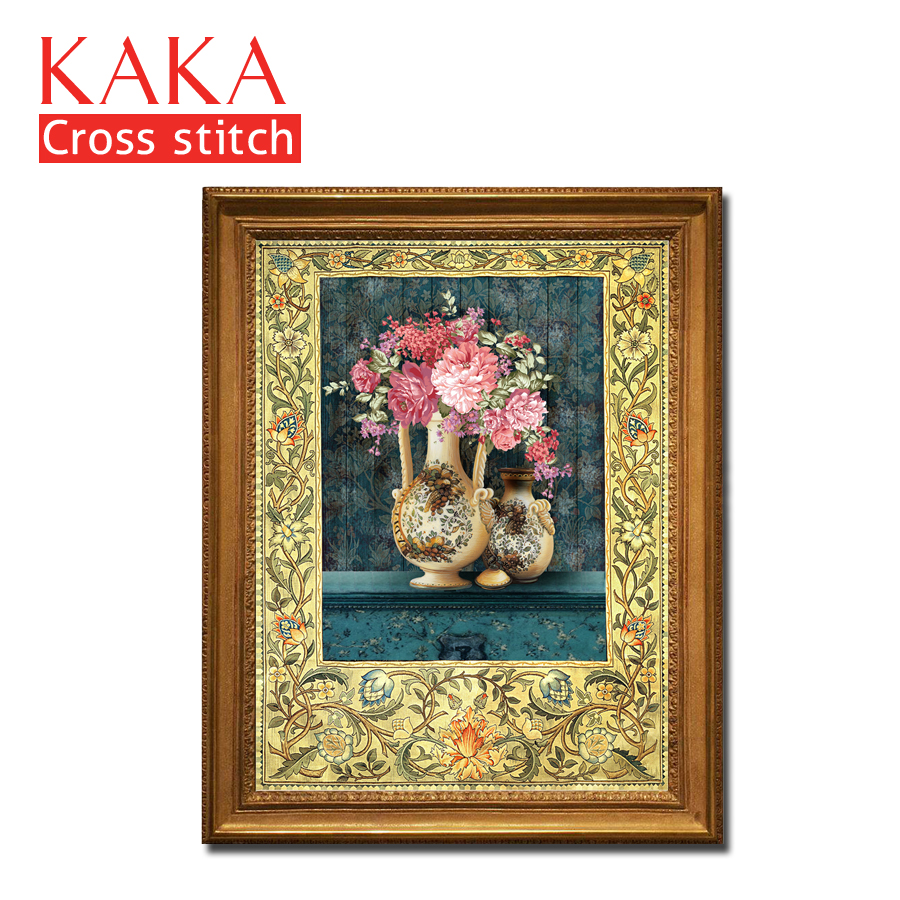 Cross Stitch Kits,Embroidery Needlework Sets With Printed Pattern,11CT-canvas For Home Decor Painting,Flowers Full NCKF019