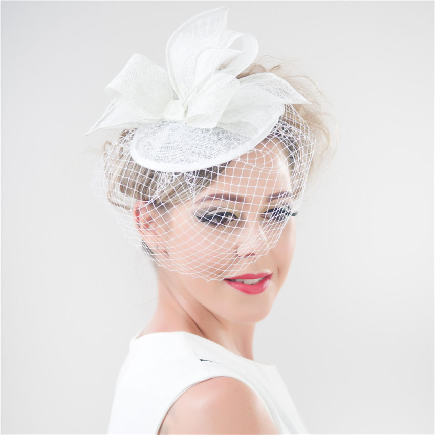 Shanfu 2017 Fashion Lady Pillbox Fascinator Hat Elegant Church With Birdcage Veil Tail White Black Red Blue Sfc12418 In Hair Accessories From