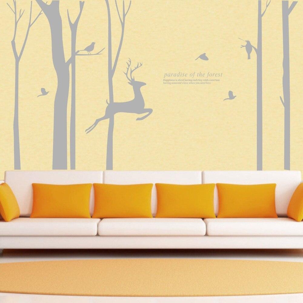 Giant Forest Tree Deer Bird Wall Stickers Vinyl Decals HomeForest ...