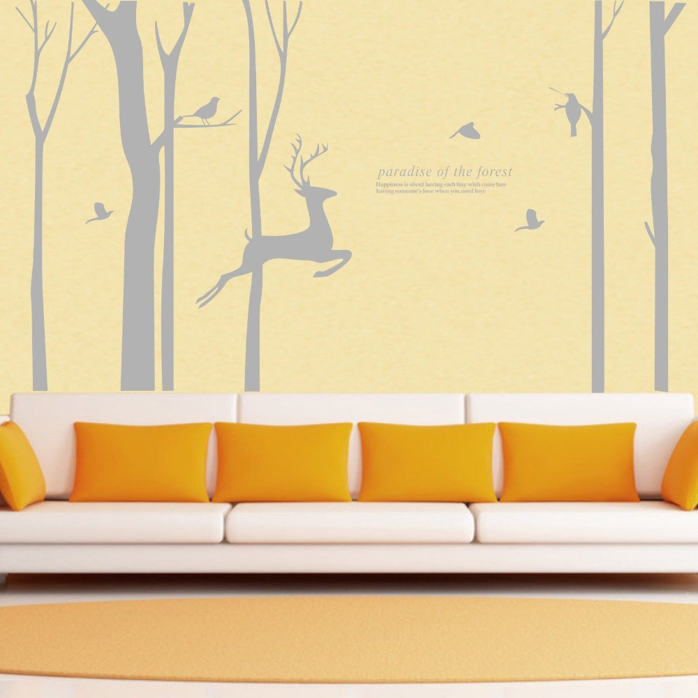 Wild birch forest with owls vinyl wall decal - Giant Forest Tree Deer Bird Wall Stickers Vinyl Decals Homeforest Treer Art Mural Diy China