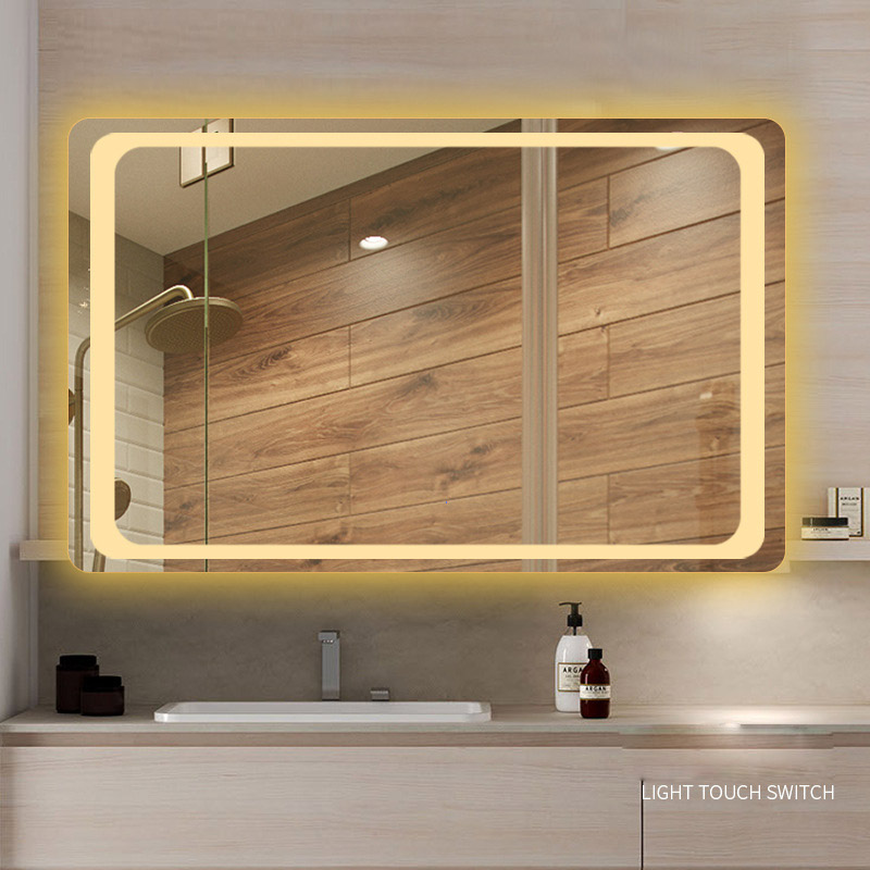 Glamo Hotel Custom Touch Bluetooth Bathroom LED Mirror Smart Anti fog Wall Vanity mirrorl For Home 2 Colors Light espejo pared tocador 5