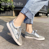 Sianie Tianie 2019 autumn spring silver red crystal woman loafers lace up female walking flats shoes sneakers big size 44 45 46