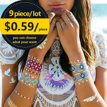 9 Pcs/lot Waterproof Flash Tattoo Non-toxic Temporary Tattoo Sticker
