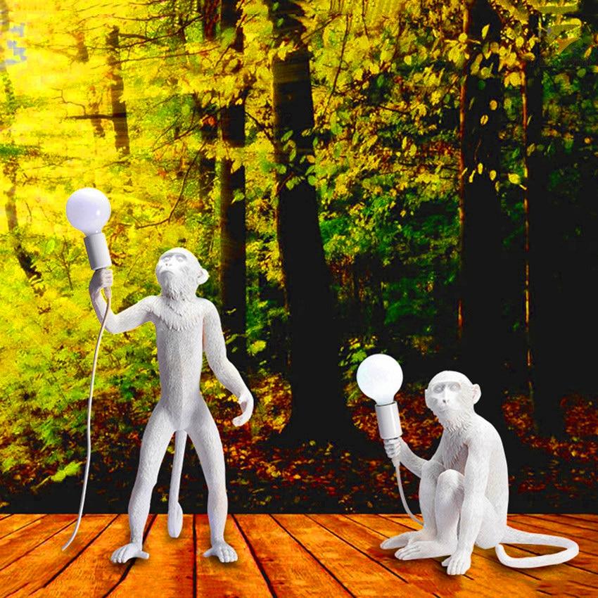 Modern Hemp Rope colour Monkey Lamps LED Floor Lights Art Replicas Resin Desk Bar Decoration Standing
