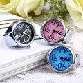 Envío gratis 1 unid Moda Creativa Anillo de Dedo Del Cuarzo Elástico Redondo del reloj de las mujeres de Señora Girl de Acero Al Por Mayor Envío de La Gota
