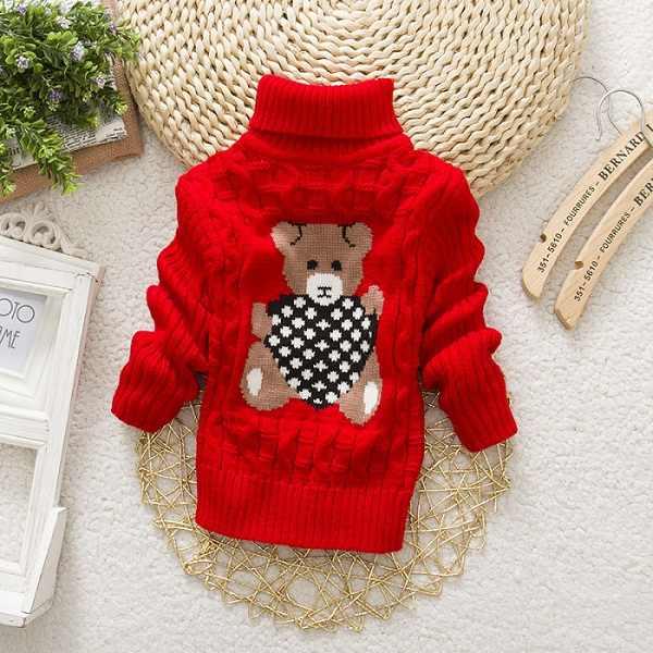 IENENS, 1 unidad de ropa de invierno para niños, bebés, niñas, ropa, suéter para niños, niñas, Tops para niños, suéteres de lana, camisa con cuello vuelto