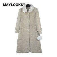 maylooks Wool Jacket Winter Women Coat Women Tops Sheep Shearing Fur Coat lambswool Collor Women Clothes 2018 Long beige 618