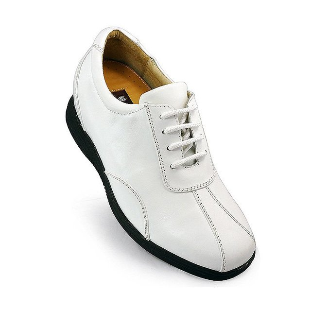 7386 - Hot sale white golf leather shoes lift height 3.0 inches taller- Free shipping