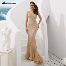 lakshmigown Gold Evening Dresses Mermaid Prom Dresses