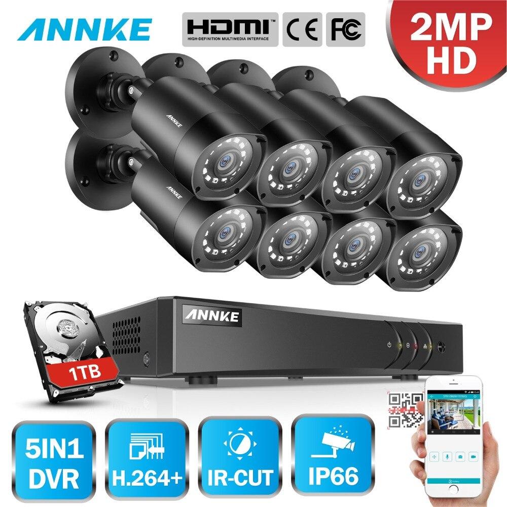 ANNKE 1080 p FHD 5in1 8CH Lite H.264 + DVR 1080 p HD TVI Smart IR Bullet Intempéries Caméras de Sécurité surveillance CCTV Système
