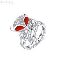 Qmarry fashion 2019 red white crystal wolf rings for kid girls gifts party ajusted for women's Wedding Engagement Ring