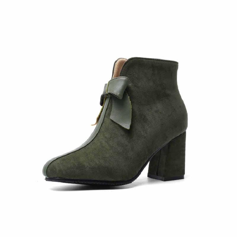 Sianie Tianie 2019 winter warme plüsch frau stiefel olive grün nette block high heels frauen stiefeletten mit schmetterling- knoten größe 44