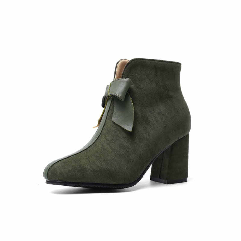 Sianie Tianie 2020 kış sıcak peluş kadın botları zeytin yeşili sevimli blok yüksek topuklu kadın yarım çizmeler kelebek-düğüm ile boyutu 44