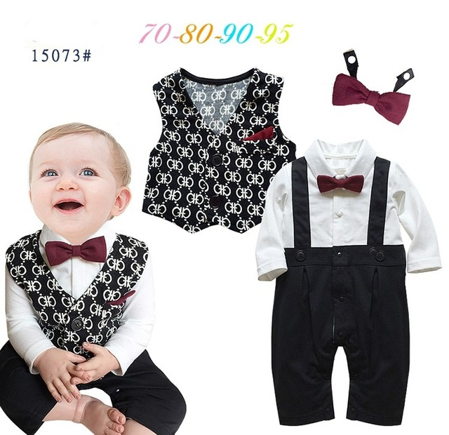 4059d0152996f DHL EMS Free shipping Infants Baby boys Kids gentleman party 2pc Suit Romper  + waistcoat +