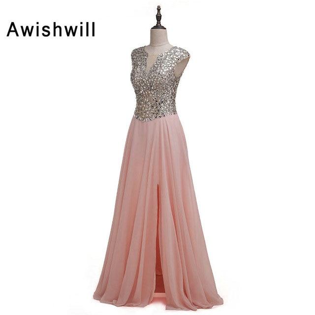 See Through Back Cap Sleeve Front Slit Chiffon Long Prom Dresses ...